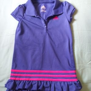 Girls Adidas blue pink ruffle tennis style dress 6